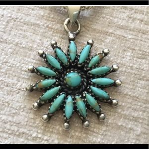 Zuni sterling silver turquoise pendant necklace